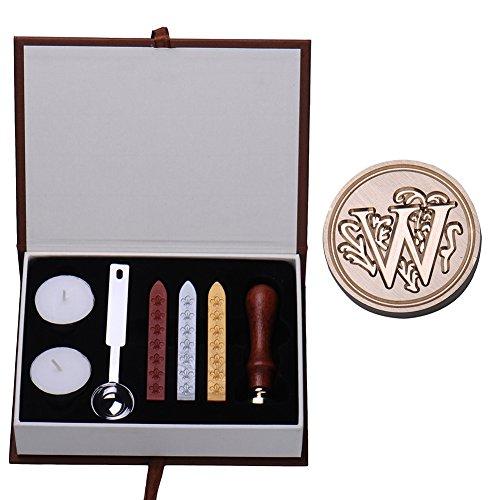 Siegelwachs-Set im Vintage-Retro-Look, Messingfarbe, Alphabet-Stempel Schmelz-Löffel, Kerzen, Set W
