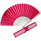 Voberry- Chinese Style Bamboo Silk Handheld Folding Fans with Gift Box for, Wedding Party and Home Decoration Close Length 21CM,Unfolded Width 38CM Red