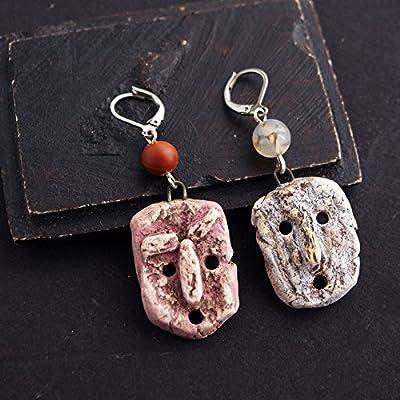 idée cadeau couple original - boucle d'oreille unique homme - bijou d'oreille femme - masque tribal boho ethnique bohème - artisanal made in France