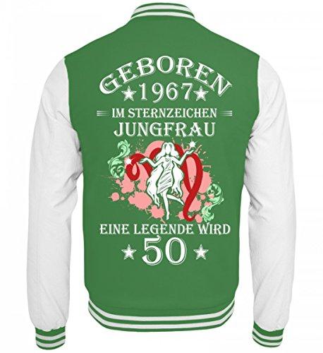 Hochwertige College Sweatjacke - Sternzeichen Jungfrau wird 50 Grün-Weiss