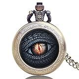 Game of Thrones Dragon 's Eye Antik Bronze Effekt Retro/Vintage Case Herren Quarz-Taschenuhr Halskette–auf 81,3cm Zoll/80cm Kette