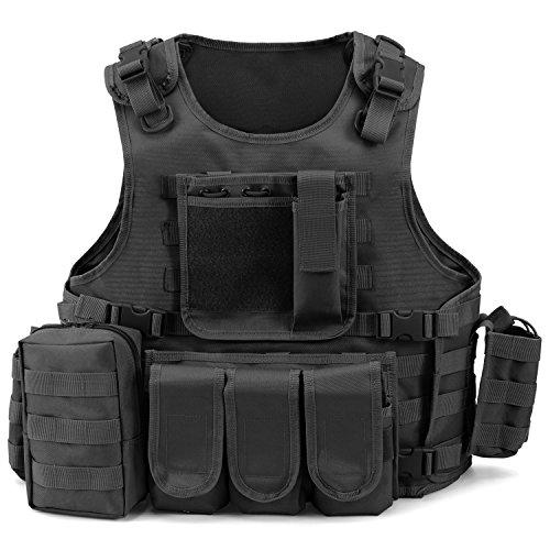 Gilet Tactique Militaire Barbarians Gilet de Combat Veste Extérieure pour Airsoft Jeu CS Militaire Cosplay Noir