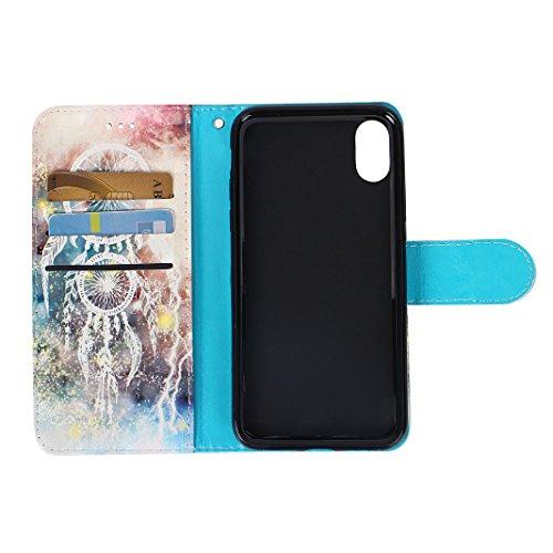 iPhone X 2017 Brieftasche Hülle, iPhone 10 Flip Case, Asnlove Bookstyle Schutzhülle Litchi PU Leder Flip Ledertasche Case Design 3D Muster Serie mit Integrierten TPU Silikon Kartensteckplätzen und Stä Style-8