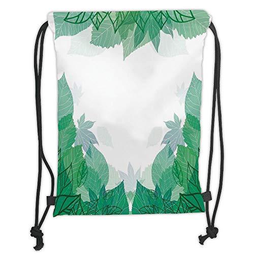 ack Backpacks Bags,Mint,Tropical Green Leaves Wildlife Botanical Fern Leaf Bush Field Forest Illustration Art,Jade Green Soft Satin,5 Liter Capacity,Adjustable String Closur ()