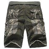 GreatestPAK Pants Hosen-Art- und WeiseHerren beiläufige Taschen-Strand-Arbeit zufällige Kurze Hosen-Kurzschlüsse,Grün,30
