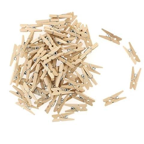Flammee 50/100 Pieces Mini Pince a Linge en Bois Eco-friendly (100)