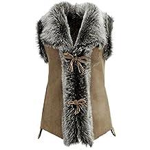00d79251f8e8b2 DX-Exclusive wear Damen Weste Wildleder Lammfellweste, Schaffellweste,  Lederweste, Gilet, Fell
