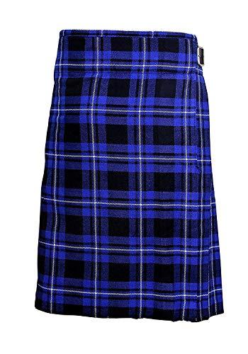 """Tartán Azul Hombre 5 Yarda Escocés Faldas Escocesas Kilt de Cuadros 13oz Highland Informal Kilt - Azul, 32"""" - Tres Ajustable Correas de Cuero que Permite 2 Pulgadas de Ajuste. - Forro de algodón proporciona mayor comodidad. 16 oz a 24 oz Peso de los ..."""