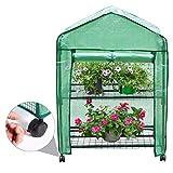 Finether-Invernadero Portátil de 2 Estantes con Ruedas y Tapa Transparente, Ideal para Jardín,...