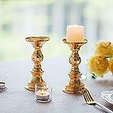 Set aus 10 Gold-Metall-Säulen-Kerzenhaltern, Hochzeit Mittelstücke Kerzenständer Kerzenständer Dekoration Ideal für Hochzeiten, Besondere Anlässe, Partys (Passend für 50mm Dia Kerze 15cm H, 10 Pcs) - 4