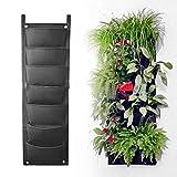 SUNNIOR 7 Pocket feltro a parete stereo per coltivazione di piante sacchetto 30 * 100cm, parete verde Flora, Nero