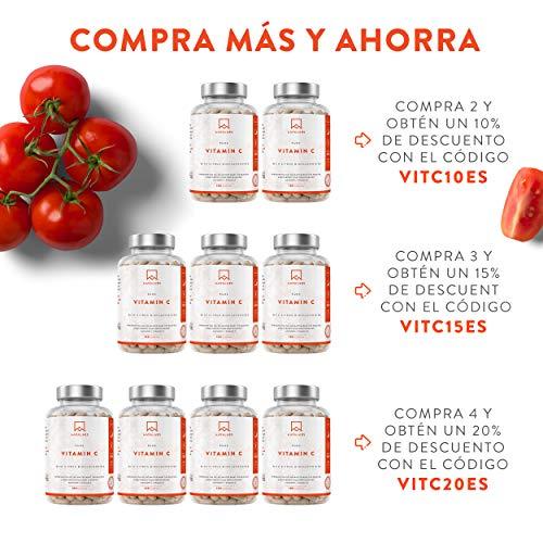 51RP3NxcUPL - Vitamina C Pura Altamente Concentrada - Más de 1000 mg por Dosis Diaria [1027 mg] - 180 Cápsulas - Con Flavonoides de Fruta Cítrica, Camu Camu y Acerola - Complemento Alimenticio 100% Vegano