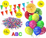 TK Gruppe Timo Klingler XXL Deko Dekoration über 100 Teile - Schulanfang, 1.Schultag, Einschulung, ABC Erster Schultag, Schuleinfühung, Konfetti, Luftballons UVM.