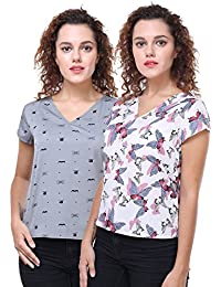 9edfba902bf621 Deewa Set of 2 Grey and White Tops