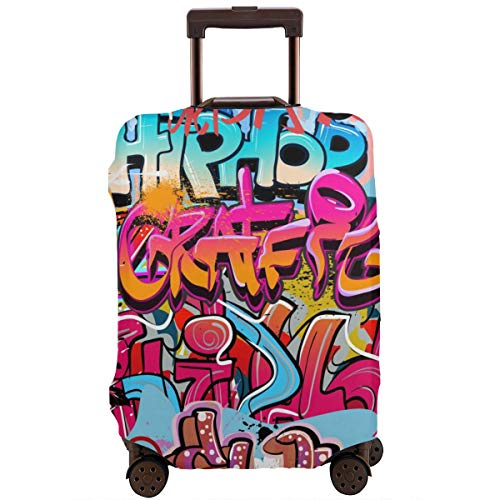 Travel Suitcase Protector,Hip Hop Street Culture Harlem New York Wall Graffiti Spray Artwork Image,Suitcase Cover Washable Luggage Cover L