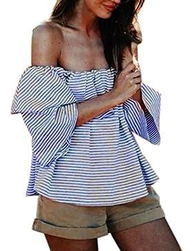 Sannysis Damen Gekräuselt Aus Schulter Tops Freizeit Bluse Sommer T-Shirt