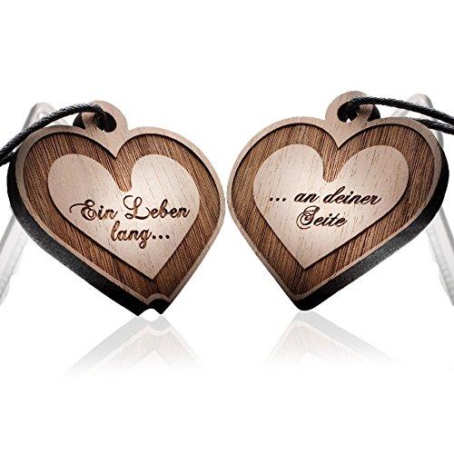 *schenkYOU® INFINITY 2er Set Schlüsselanhänger mit Gravur – Echtes Nussbaum Holz – Ihr Wunschtext + Symbol – gravierter Partneranhänger mit Namen, Sternzeichen, Unendlichkeit, Herz uvm.*