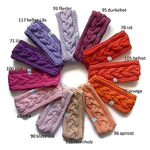 1 Stirnband Baumwolle mit Zopfmuster in rot, orange, rosa, pink oder lila Tönen erhältlich, auf Wunsch mit Fleece gefüttert