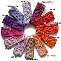 1 Stirnband mit Zopfmuster in rot, orange, rosa, pink oder lila Tönen, auf Wunsch mit Fleece gefüttert