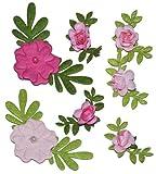 Unbekannt 7 tlg. Set - Aufkleber / Sticker Filz Blumenranken und Rosen Selbstklebend - z.B. für Schulanfang und Schultüte & Zuckertüte Deko Schulbeginn Schule ABC - Filzblumen Blume Rosa Pink