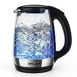 Wellquic Hervidor de agua eléctrico, 1,7 l de cristal, hervidor de agua con LED, de rápida cocción 2200 W, filtro reutilizable, base giratoria, cierre automático