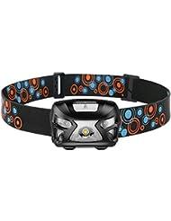 Linterna Frontal LED USB Recargable GRDE Sensor de Movimiento Linterna Cabeza 300 Lúmenes y 6 Modos de Luz Frontal trabajando 12-15 HORAS con 60° Ajustable para Camping, Pesca, Running, Caza etc