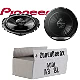 Lautsprecher Boxen Pioneer TS-G1730F - 16cm 3-Wege Koax Paar PKW 300WATT Koaxiallautsprecher Auto Einbausatz - Einbauset für Audi A3 8L Heck - JUST SOUND best choice for caraudio