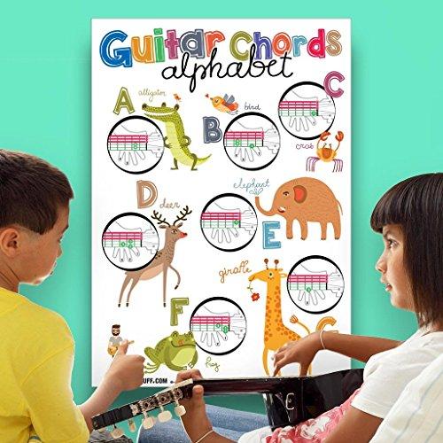 Lernposter mit Gitarrenakkorden und Alphabet für Kinder, 48,3 x 68,6 cm