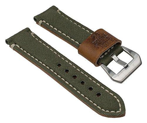 Ersatzband Uhrenarmband 'Green River' Canvas/Leder Band Grün mit Naht 24mm 25823S (Uhrenarmband Canvas Leder)