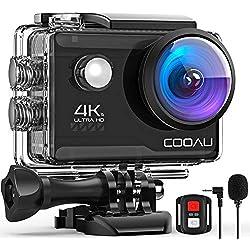 COOAU Caméra Sport 4K 20MP avec Wi-FI Microphone Externe Télécommande stabilisateur EIS, Caméra d'action Étanche 40M avec 2X1200mAh Piles et 20 Accessoires