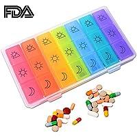 Preisvergleich für Weekly Pille diepenser Box Organizer am/PM 7Tage Medizin Wochenplaner Behälter für 3mal Täglich für Tabletten...