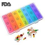 pillole Diepenser scatola organizzatore AM/PM giorni medicina settimanale contenitore per 3volte al giorno per pillole, vitamina, olio di pesce con custodia.