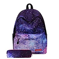 Labato Unisex School Backpack Canvas Rucksack Laptop Book Bag Satchel Hiking Bag with Pencil Bag (Starry Night)