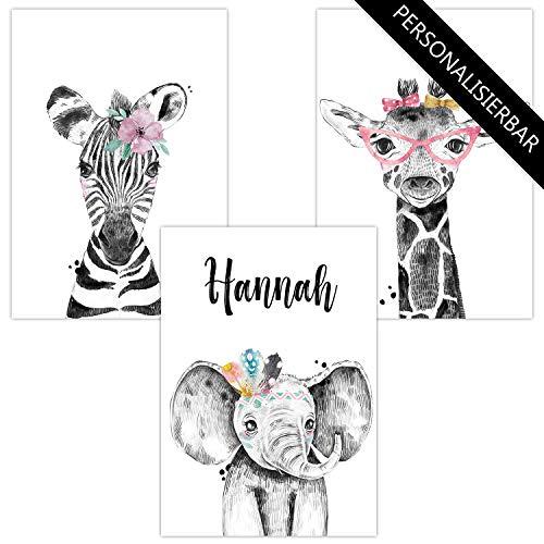 Wandbilder 3er Set personalisiert für Babyzimmer Deko | Kunstdruck DIN A4 | Dekoration Kinderzimmer Poster mit Namen (3er Set