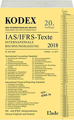 KODEX Internationale Rechnungslegung IAS/IFRS - Texte 2018 (Kodex des Internationalen Rechts)