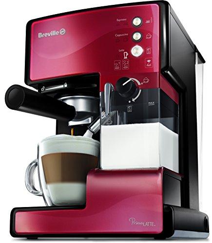 Breville VCF046X PrimaLatte 3 in 1 Kaffeemaschine   Espressomaschine   Kaffeepadmaschine   15 Bar   für verschiedene Milchtypen geeignet, Rot/Metallic