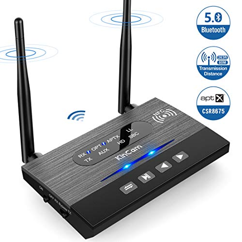 KinCam Trasmettitore e Ricevitore Bluetooth 3-in-1(TX/RX/Bypass), 5.0/80M Lunga Portata Wireless Trasmettitore Adattatore Bluetooth per TV, Stereo Domestico, AUX 3,5 mm, aptX HD e aptX Bassa latenza