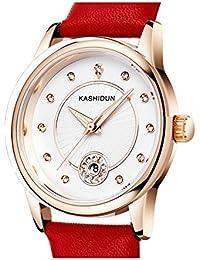 KASHIDUN Women's Watches Fashion Dress Wrist Watch Luxury Diamonds Crystal Watch Case White Dial Leather Strap.790-JhoP