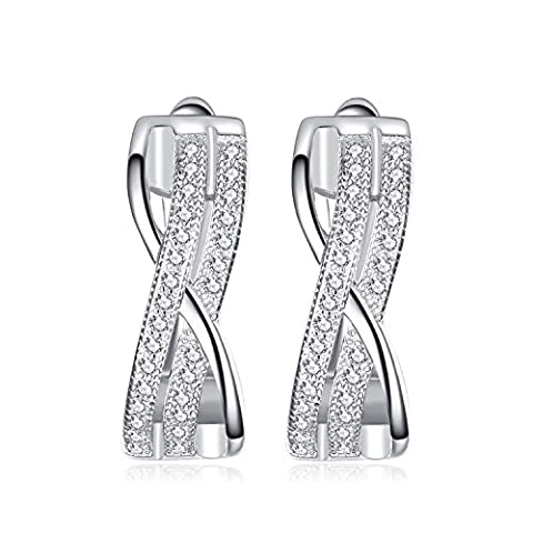 JewelryPalace 0.28ct Brillant Boucles d'Oreilles Clips Créoles Infini Femme Filles en Argent Sterling 925 en (Eterna Nodo)