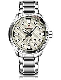 Naviforce reloj Sport Fashion acero inoxidable de la goma de cuarzo reloj de pulsera con fecha pantalla para hombres (plata/blanco)