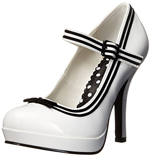 Pleaser Damen Secret-15 Mary Jane Halbschuhe - Weiß (Wht Patent) -  37 EU ( 4 UK)