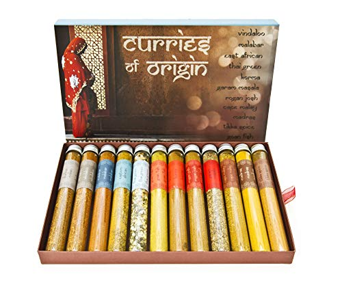 Curries of Origin (12 Unique Different Test Tube Spice Jar Set) Gourmet MasterChef Luxury Selection Foodies Authentic Fine Food Cooking Gifts Inspired by Eat.Art