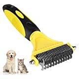 Garsum Dog Dematting Comb, Pet Grooming Brush Deshedding Tool 23+12 Double Sided Teeth Undercoat Rake, Dog Furminator for Small, Medium, Large Dogs, Cats and Horses with Short or Long Hair