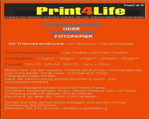 50 Blatt DIN A3 Fotopapier 260g /m² doppelseitig hochglänzend wasserfest lichtecht bis 9600 DPI bedruckbar Beidseitig beschichtet (Foto Papier Hp-matt)