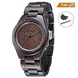 WONBEE Wooden Watch For Men and Women-Handmade Craftsmanship Wood Watches-Wood Watchband-Wood Bezel-Ebony Wristwatch-ROCOSEUM Series
