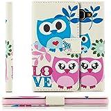 Coque Samsung Galaxy A3 (2016) Housse Etui Flip Cover Wallet Case avec Poche intérieur Cover Haute Qualité LOVE Owls