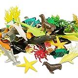 Meerestiere Spielzeug Meer Tier Kinderspielzeug Badespielzeug Figuren 56 Stück, Kunststoff Ozean Kreatur Spielzeug Set für Kinder, Tier Kuchen Topper