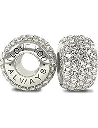 Royal Collection-I Love You Always-raffiné et luxueux en argent Sterling 925 avec zircones cubiques Blanc orné de cristaux CZ pour bracelets de type Pandora et autres bracelets 4 mm