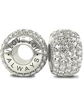 The Royal Collection Perle für Charm-Armband, 925 Sterling-Silber, weiße österreichische CZ Kristalle, Pavé-Fassung...