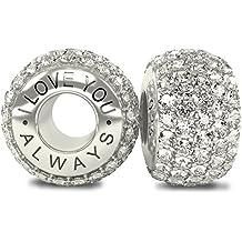 La Colección Real - I Love You Always 925 Plata de Ley Charm Abalorio Cuenta con Cristales Austriacos compatible con Pandora o pulsera similar de 3mm